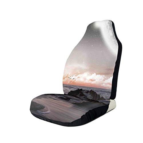Seat Covers Vehicle Protector Car Mat, Moon Fantasy Planet Beach with Old Pier with Sea Waves Fiction Eclipse Sky Landscape,Fit Most Cars, Sedan, Truck, SUV,1pcs -