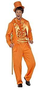 Smiffys Esmoquin Divertido de los 90, Color Naranja con Chaqueta, Pantalones, Babero IMI