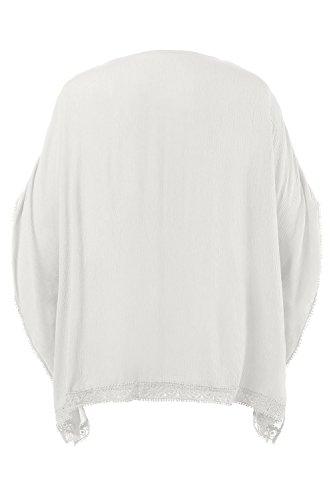 Ulla Popken Damen große Größen bis 62+ | Tunika mit Spitzenbändern | Borkenkrepp, überschnittene Schultern | V-Ausschnitt | Loose Fit | 710424 Offwhite
