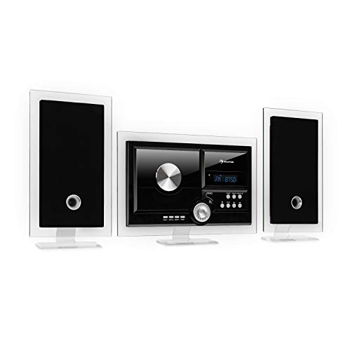 auna Stereo Sonic DAB+ Stereoanlage, Wandmontage, DAB+/UKW-Radiotuner, automatischer CD-Player, USB-Port für MP3-Dateien, Bluetooth-Funktion, AUX-Eingang, LCD-Display, Schlaf-Funktion, schwarz