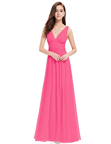 Ever Pretty Damen V-Ausschnitt Lange Chiffon Abendkleider Festkleider 38 Hellrosa