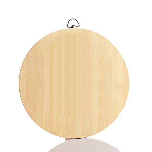 CABNT Runden Organischen Bambus Küchenbretter, Dauerhaft Schneidebrett Mit Griff Carving-Board Portion Board Metzgerblock-38cm/15in Carving-board
