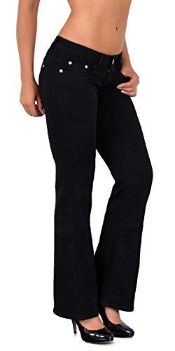 ESRA Damen Jeans Hose Bootcut Jeanshose Hüftjeans Schlaghose Damen Hose bis Übergröße CC Damen Bootcut-hose