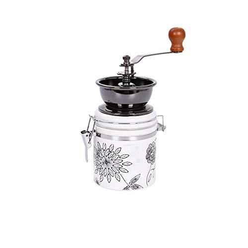 LIUMSJ Manuelle Kaffeemühle | Erweiterte einstellbare grobe Keramikmühle | Handheld-Kaffeemühle | Kompakte Kurbel für zu Hause, im Büro und auf Reisen (Color : White) (Kaffeemühle Hand-held)