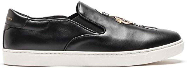 DOLCE E GABBANA Herren CS1365AM0608S574 Schwarz Leder Slip on Sneakers