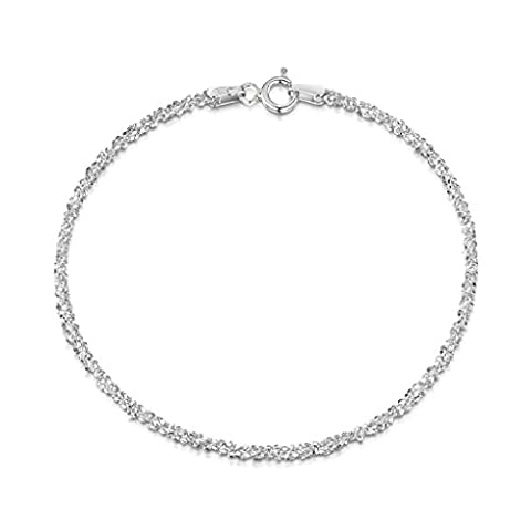 Amberta 925 Sterlingsilber Damen-Armkette - Popcorn-Kette Armband - 2 mm