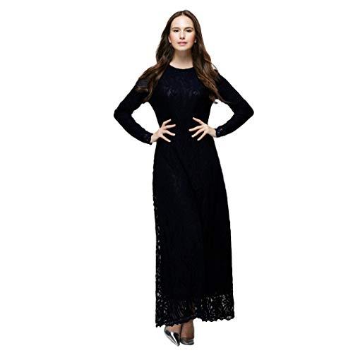 Scolor Saris Muslim Islamisches Kostüm für Frauen Mädchen Bezaubernde Damen Wunderschönes Spitzendesign Reisekleid(Schwarz,L)