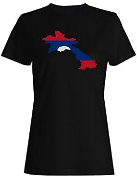 Nuevo Laos Bandera Mundo camiseta de las mujeres i674f