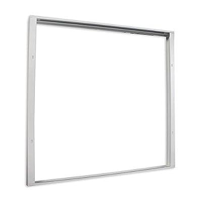 Vetrineinrete® Cornice per pannello led quadrata 60×60 cm montaggio esterno a parete o soffitto supporto per plafoniera led in alluminio bianco P38