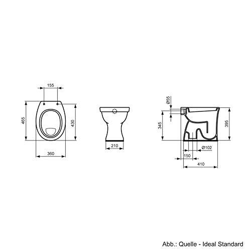 Ideal Standard Eurovit Stand-Flachspül-WC, Abgang innen senkrecht, weiss, V313101