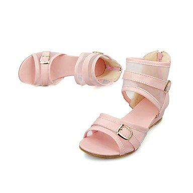 CH&TOU DamenKleid Lässig-Tüll Kunstleder-Keilabsatz-Modische Stiefel-Blau Rosa Weiß Pink