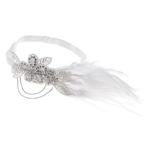 Charmstep Retro Flapper Gatsby Stirnband der 1920er Jahre Kopfschmuck Brüllen 20er Jahre Zubehör für Kostüm Prom Hochzeitsgesellschaft,White1,OneSize