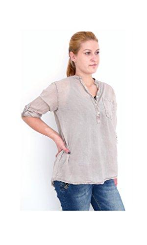 Trend Outfit Fischerhemd Henleyshirt Blusenshirt Bluse Shirt Pailletten M L 38 40 42 casual (8337) (ecru)