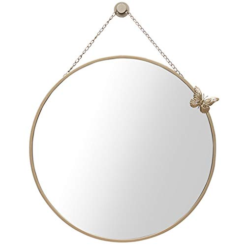 2-licht Abgeschrägten Glas (WWL Runder Crackle-Wandspiegel Handgefertigter Runder Spiegel Badezimmer-Wandspiegel Modern, Stilvoll, Mit Abgeschrägtem Badezimmerspiegel, Beleuchtet (Color : Metallic, Size : 60cm))