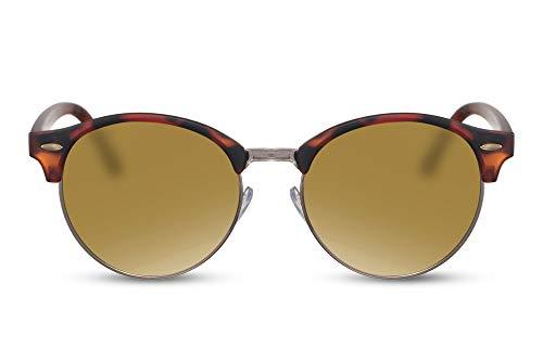 Cheapass Sonnenbrille Braun Gold-ene Gläser UV-400 Rund-e Brille Halbrahmen Browline Plastik Damen Herren