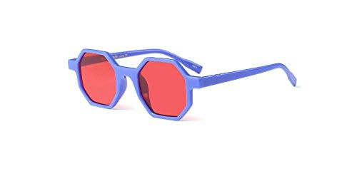Hykis Brand Designer Small Square Vintage-Sonnenbrillen Frauen UV400 Grau Objektiv-Glas-Rahmen Retro neue Art und Weise Damen Sonnenbrille Oculos [blau]