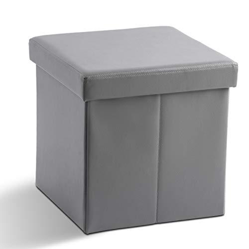 Zedelmaier Sitzhocker Sitzwürfel Fußbank Aufbewahrungsbox faltbar belastbar bis 300 kg 38 x 38 x 38 cm (Grau)
