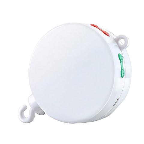 [Version améliorée] Topop Boîte à Musique électrique Mobile pour Bébé avec 128M carte micro SD et 12 Chansons Jouets et Cadeaux pour Bébé - Blanc