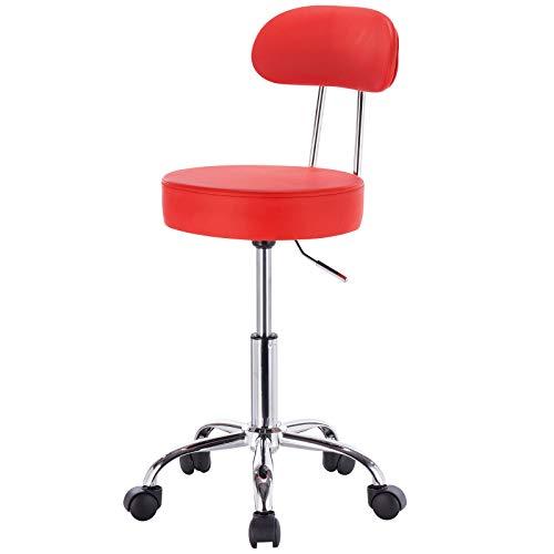 eSituro SBST0186 1 x Arbeitshocker Rollhocker Drehhocker, höhenverstellbar & 360° drehbar, mit gepolsterter Rückenlehne, aus hochwertigem Kunstleder, Rot