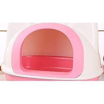 Lsrryd Bac à litière à Capuchon Cat Kit Loo Filtre Porte à Rabat pour poignée de Transport - Toilette Facile à Nettoyer (Couleur : Pink)