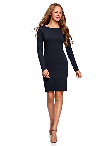 oodji Ultra Damen Enges Kleid Basic, Blau, DE 36 / EU 38 / S