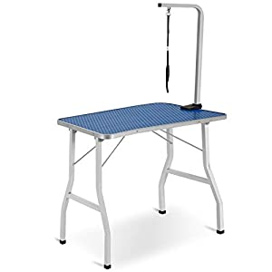 BTM-Adjustable-Portable-Stainless-Steel-Dog-Grooming-Table-with-Arm-Noose-and-Accessories-Tray-Aluminum-EdgingW90D60H76cm-36-236-30inch