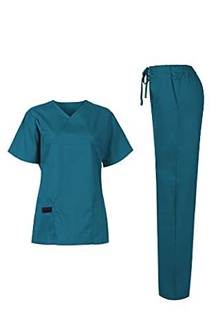 MedPro Women's Medical Scrub Set (Top & Bottom) Turquoise XXL (5868)