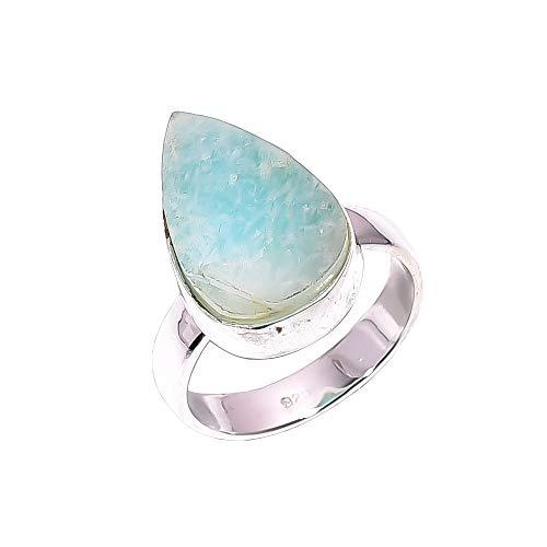 Lavie jewelz anello in argento sterling 925, misura l, con amazzonite grezza, realizzato a mano, da donna, rsr2485