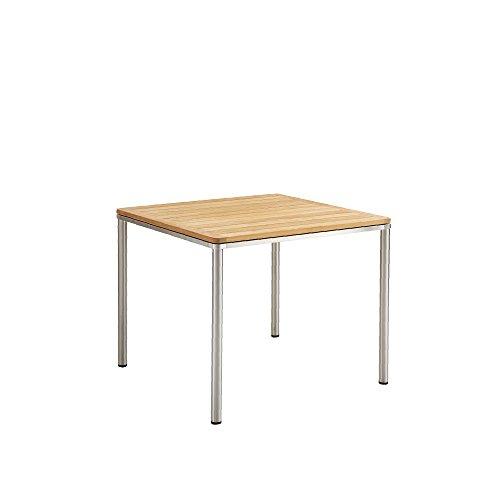 GARPA Portland Edelstahl Tisch 90 x 90 Tischplatte Teak