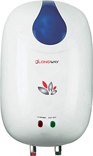 LONGWAY HOT Spring 3 LTR Instant Water Heater GEYSERS ABS Body HD ISI Element Glass Type SS 304 Grade Tank, 2 Year Warranty (White Blue)