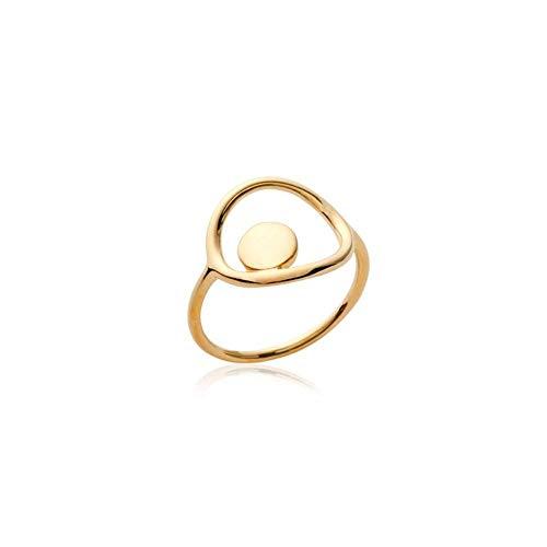 Rendez-vous RueParadis Paris - Feiner Ring Moliere - Offener Kreis und Plättchen - 18 Karat Vergoldet 3 Mikron - Damenschmuck - Drei-karat-diamant