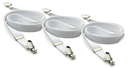 DESERMO® Betttuchspanner im 3er oder 6er Pack Spanner für Bettlaken   elastisch, bis 120cm lang Kreuz & quer verstellbare Bettlakenspanner (3er Pack, weiß) - Elastische Kreuz-klammer