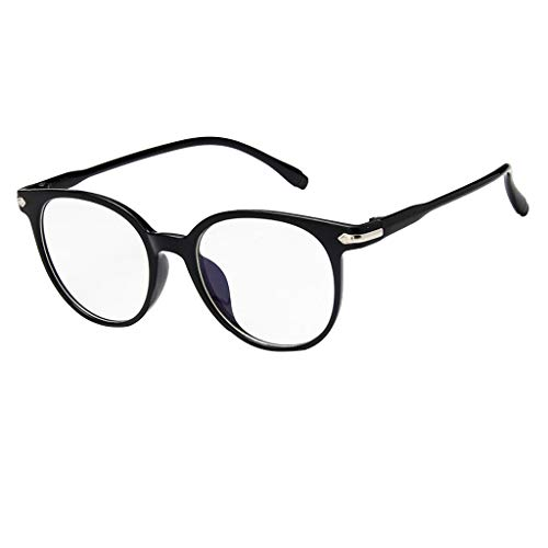 EUCoo Studenten Brille KläRen Anti Blaue Augenpflege Retro Computer Strahlung Volle Rahmenflache Optische GläSer(Sank Black)