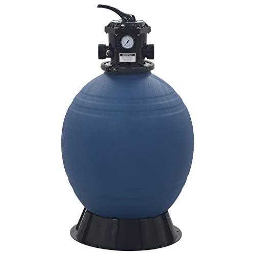 Tidyard- Pool-Sandfilter Schwimmbad Filter Set mit 6-Wege-Ventil Geeignet für Schläuche mit einem Durchmesser von 32 mm oder 38 mm,Abmessungen:56 x 96,8 cm (Durchmesser x H) 10 m³/h Blau
