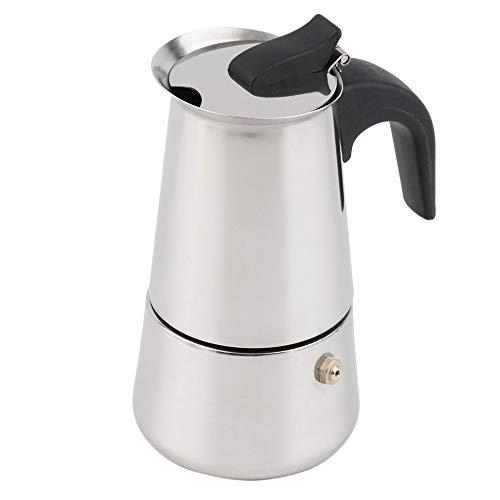 SUUUK Espresso Kaffeemaschine 2/4/6-Cup Percolator Herd Kaffeemaschine Moka Espresso Latte Edelstahl Topf heiße Kaffee backen,Silber