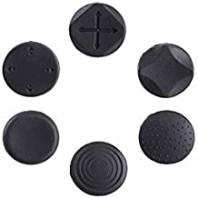 Feicuan Button Protectors Thumbstick Cover Joystick Analog Cap for PS Vita Black Pack of 6