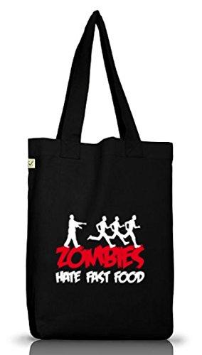 Shirtstreet24, ZOMBIES HATE FAST FOOD,Halloween Zombie Jutebeutel Stoff Tasche Earth Positive, Größe: (Kostüm Zombie Bio)