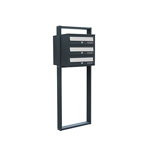 BITUXX® Design Stand-Briefkastenanlage Postkasten Letterbox Mailbox Edelstahl Briefklappe mit 3 Fächer Dunkelgrau - 2