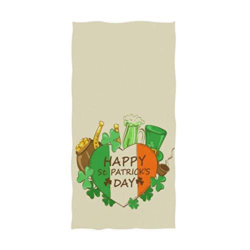 YOWAKi Happy Saint Patrick's Day Irish Flag Heart Shamrock Print Soft Absorbent Guest Hand Towels for Bathroom, Hotel, Gym and Spa 12