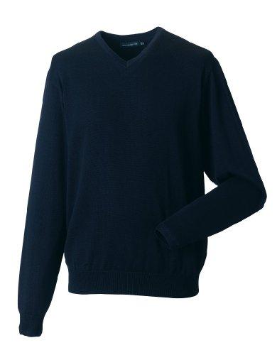 Russell Collection Glattgestrickter Pullover mit V-Ausschnitt R-710M-0 Blau