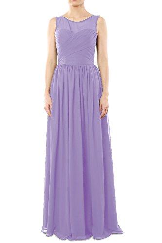 MACloth Women's O Neck Long Chiffon Bridesmaid Dress Formal Evening Party Gown Lavande