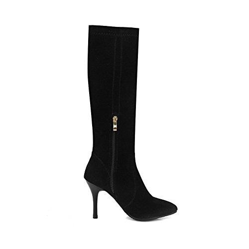 VogueZone009 Damen Schnüren Rund Zehe Hoher Absatz Hoch-Spitze Stiefel mit Knoten, Weinrot, 43