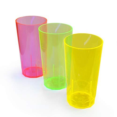 Eventlights 20 NEON Longdrink Becher 250 ml - Mehrweg UV Leuchtbecher - Schwarzlicht Longdrink-Gläser