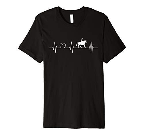 Pferd Reiter Herz Silhouette EKG Herzschlag Hobby T-shirt