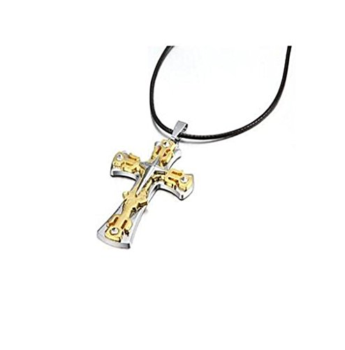 MAJIYUN spessore oro in lega di zinco collana pendente in argento Crocifisso Croce , one size