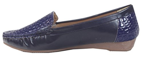 Ocala - Mocassini Con Balerine Di Vernice Per Donna Con Scarpe In Rilievo Croco Slipper Office Business Cocktail Tinta Unita 36 37 38 39 40 41 Blu
