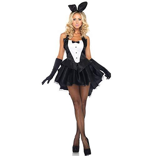 Windtor Damen 3-teiliges Sexy Bunny Smoking Kostüm Tux und Schwanz Halloween Cosplay Cocktail Kleid Kostüm Gr. Medium, - Sexy Cocktail Bunny Kostüm