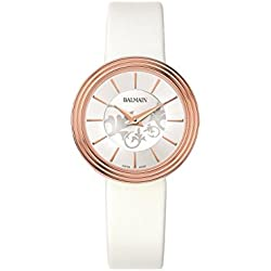 Balmain Women's Elegance White Leather Band Rose Gold Plated Case Quartz Analog Watch B1379.22.16