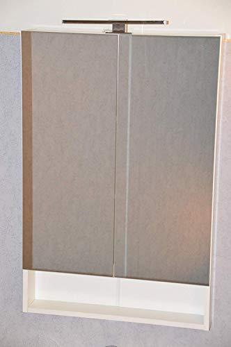 GoodView Spiegelschrank der Serie Sorento mit LED-Lampe 60 cm Breit / 91cm Hoch / 12cm Tief - Weiß - Spiegel Hängespiegel Badspiegel