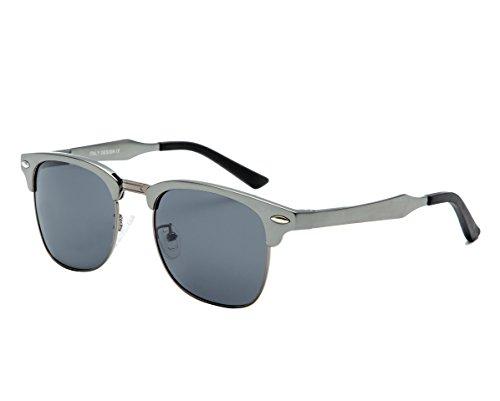 Dollger Polarisierte Sonnenbrille Horn umrandeten Halbrahmen(Schwarze Linse+Rotgussrahmen)